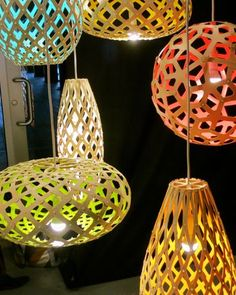New Zealand-based, English artist/designer  David Trubridge.  created these beautiful, sculptural, energy efficient,  sustainable light fixtures with an environmental conscience..shapes are influenced by nature; the flora, fauna, and sea life of Australia & New Zealand.    Using CFL & LED light sources,  the laser cut lights are flexible bamboo plywood pieces,  that are attached with metal clips.