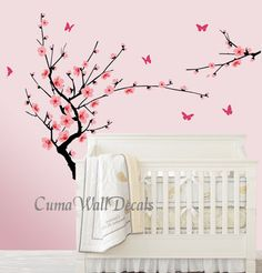 pink cherry flower vinyl wall decals butterfly wall decals nursery wall decals wall mural - brandh floral wall sticker art pink cherry blossom $48