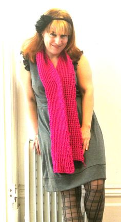 365 Ways to Wear Crochet: Bright Pink with Grey