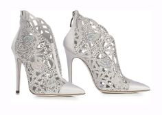 LORIBLU. Pointed white satin jewel shoe with stiletto heel. The workmanship of the leather is like a gorgeous lace embellished with uncountable hand-applied SWAROVSKI ELEMENTS. Absolute refinement, enchanting object of desire.  Available at Loriblu boutiques and http://www.loriblu.com/en/sposa/sposa-calzature/scarpa-gioiello-4e7t2288p22c01g87pc1.html