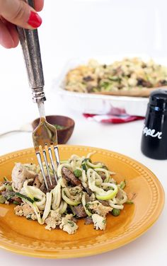 Chicken Tetrazzini with Zucchini Noodles | Grain-Free. Uses almond & coconut flours.