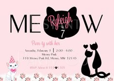 """Cat birthday invitations""""Meow"""" is what this cat birthday invitation says. It's pink, black and white for a sophisticated cat party for cat lovers.    GET THESE INVITATIONS AS A DIGITAL FILE OR PRINTED WITH FITTED ENVELOPES.    The printed invitations come in sets of 10. Look in the """"amount"""" section to get package sizes and rates.    You can print them out yourself or let me print and ship them to you. I have matte card stock paper or glossy photo paper that you can choos"""