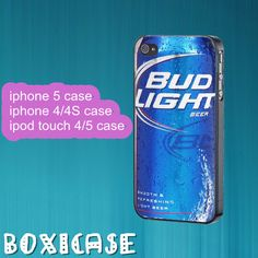 Bud Light beer---iphone 4 case,iphone 5 case,ipod touch 4 case,ipod touch 5 case,in plastic,silicone and black , white. by Boxicase, $14.50