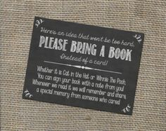 Baby Shower Ideas Discover Please Bring a Book Instead of a Card! Insert for Baby Shower Invitations - Library Card with Chalkboard Rustic Theme Gender Neutral DIY Shower Bebe, Baby Shower Fun, Girl Shower, Shower Party, Baby Shower Parties, Baby Party, Book For Baby Shower, Baby Shower Guest Gifts, Baby Shower Twins