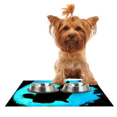 Kess InHouse Theresa Giolzetti 'Blue Moon Bunny' Aqua Paint Feeding Mat for Pet Bowl, 18 by 13-Inch -- Trust me, this is great! Click the image. : Cat items