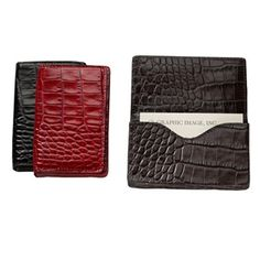 Hard Business Card Case, Crocodile Embossed Leather