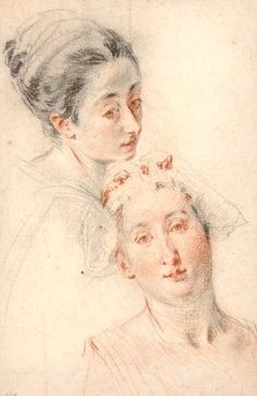Antoine Watteau, 1684-1721, French, Portrait studies of two daughters of Pierre Sirois, 1718. British Museum. Rococo.