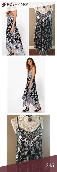 """Asymmetrical paisley print summer dress Absolutely stunning hanky asymmetrical dress features a paisley print. Black and white with a pop of purple. Adjustable cami straps. Lightweight and great quality polyester. Perfect for warm sunny days. Bust 36"""", longest length 56"""". Size small. Fits US 4-6. U.K. Brand sold by ASOS. Nwt ASOS Dresses Maxi"""