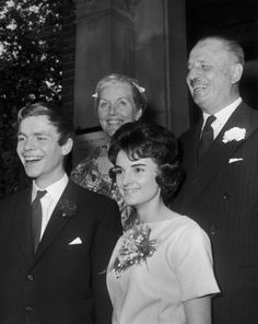 Max Mosley, son of Fascist leader Oswald Mosley, marries Jean Taylor at the Chelsea Register Office, 9th July 1960. With the happy couple are Max's parents, Oswald and Diana Mosley.
