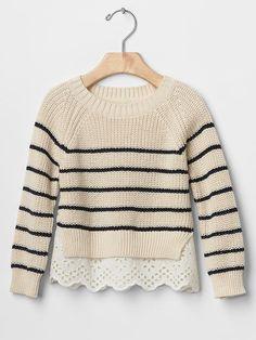 Stripe mix-fabric sweater Product Image