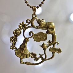 Alice in wonderland necklace - run rabbit bronze whimsical fun alice cheshire cat