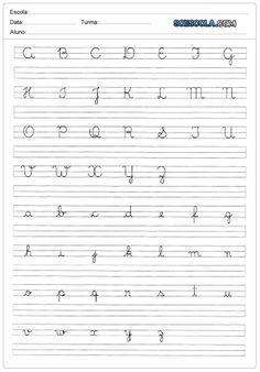 Caligrafia Do Alfabeto Com Letras Cursivas Maiusculas E Minusculas