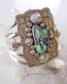 Schaef Designs carved turquoise lizard on stamped sterling silver Southwestern Totem Animal Cuff Bracelet  | Schaef Designs Southwestern, totem animal & Equine Jewelry | Online upscale southwestern jewelry boutique | San Diego CA