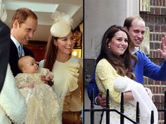 (L) Prince William and Princess Kate at the christening of Prince George in 2013. (R) The couple with Princess Charlotte Photo (C) PA, Getty