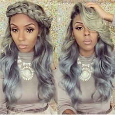 25 New Grey Hair Color Combinations For Black Women. The grey hair movement is still on the rise with many new color variations popping up everyday. From mixing the look with other color families,… Weave Hairstyles, Pretty Hairstyles, Girl Hairstyles, Keyshia Cole Hairstyles, Casual Hairstyles, Medium Hairstyles, Black Hairstyles, Protective Hairstyles, Wedding Hairstyles