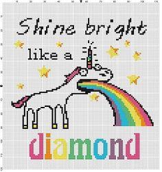 Shine Bright like a diamond - Funny Unicorn Cross Stitch Pattern - Instant Download by SnarkyArtCompany on Etsy