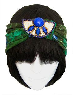 Coco Turban, Peacock, Blue,green, emerald, vintage, repurposed, handmade, cleopatra,silk, floral, 1920s, gatsby, GreatGatsby, flapper #mildaDesigns #turban #turbans #magic #art #bridal #bride #GreatGatsby #Gatsby #flapper #1920s