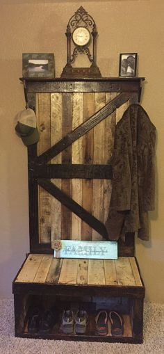 The finished shabby chic hall tree made from pallet wood, and ...