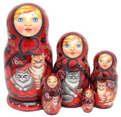 russian nesting doll Big Belly 4 inchs tall blue US Seller