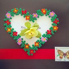 Floral heart hama perler beads  by tamatek