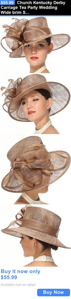 Women Formal Hats: Church Kentucky Derby Carriage Tea Party Wedding Wide Brim Sinamay Hat Taupe BUY IT NOW ONLY: $55.99