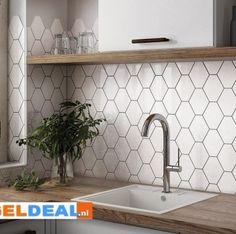Living Room Kitchen, Kitchen Backsplash, Built Ins, Kitchen Design, Sink, New Homes, Koti, Shelves, House Design