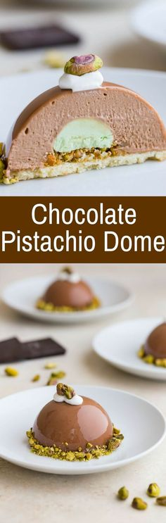 This Chocolate Pistachio Dome with Almond and Pistachio Nougatine is inspired by the elegant Chocolate Journeys dessert served onboard Princess Cruises. via @introvertbaker