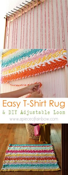 a Boho T-shirt Rag Rug With Easy DIY Loom How to build a simple adjustable rug loom and weave a beautiful t-shirt rug or other up-cycled fabric rugs. Detailed tutorial and step by step photos! - A Piece Of Rainbow Yarn Crafts, Fabric Crafts, Sewing Crafts, Upcycled Crafts, Dyi Crafts, Rug Loom, Loom Weaving, Fabric Weaving, T Shirt Weaving