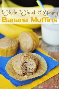 Healthy Whole Wheat and Honey Banana Muffins ~ wholesome ingredients including whole wheat flour, coconut oil, yogurt, and honey | FiveHeart...