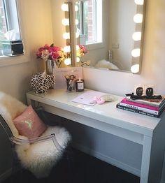 Desk, chair, fur rug.