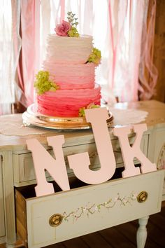 Amazing pink ombre wedding cake {Photo by Katelyn James via Project Wedding}