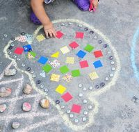 Temporary Mosaic Art With Kids - Things to Make and Do, Crafts and Activities for Kids - The Crafty Crow