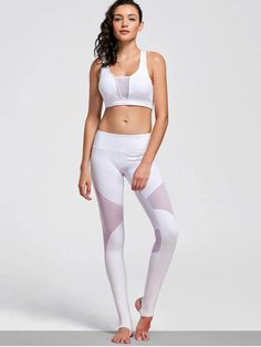 Cut Out Mesh Padded Stirrup Gym Suit - WHITE L