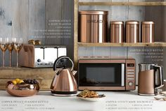 Buy Small Kitchen Appliances from the Next UK online shop - copper kitchen Copper Kitchen Accessories, Copper Kitchen Decor, Copper Decor, Small Kitchen Appliances, New Kitchen, Kitchen Dining, Buy Appliances, Kitchen Ideas, Bosch Appliances