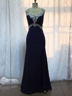 Straps Applique and Beads Split Front Long Prom Dress, Party Dress on Etsy, $145.00