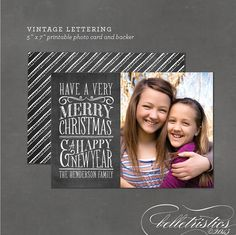 Printable chalkboard lettering holiday photo card, Chalk Christmas card -  Vintage Lettering