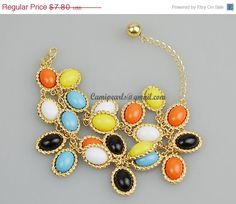 Colorful Bracelet Flower Colorful Bracelet Statement by Camipearls, $7.02