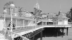 Archive Black & white photograph of Brighton's West Pier taken in the 1970s before it closed in 1975