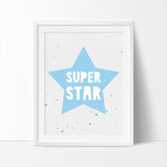 Super Star Star print Printable Art CHOOSE COLOR by bigfamilyart  Super Star, Star print, Printable Art, CHOOSE COLOR, Gold, Blue, Pink, Black, Nursery Printable, Kids Wall Art, Instant Download