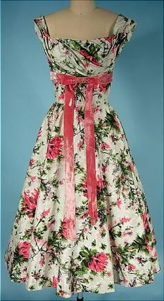 c. 1950's CEIL CHAPMAN Cotton Floral Print Party Dress with Velvet Ribbon/Bow