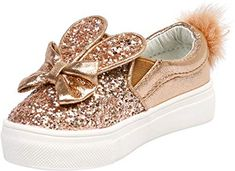 Feet First Fashion Bunny Girls Kids Flats Slip On Glitter Pom Pom Plimsolls Plimsolls, Champagne, Infant, Bunny, Slippers, Slip On, Rose Gold, Flats, Shoe Bag