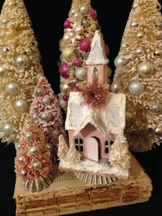 Pink Christmas Village Set Putz Church Pink by ThePokeyPoodle