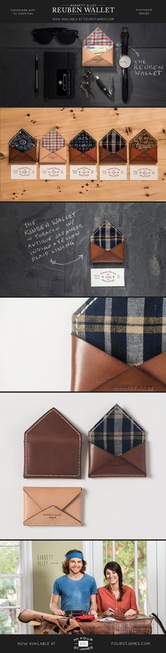 The Reuben Wallet, by Barrett Alley — Each wallet is hand cut and sewn by Barrett Alley and his small team of talented craftsmen. No machines are used. Made from the highest quality American vegetable tanned leather, and lined with antique Japanese or Ger Leather Art, Leather Design, Leather Tooling, Tan Leather, Diy Sac, Leather Pattern, Leather Projects, Small Leather Goods, Vegetable Tanned Leather