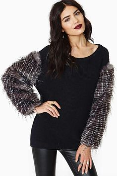 Nasty Gal Mesmerize Faux Fur Sweater