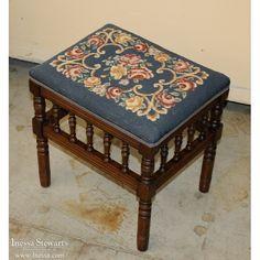 Needlepoint Upholstered Vanity Stool, early 1900s