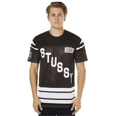 New Stussy Men's 80 Mesh Grid Iron Mens Tee Mens T-Shirts T-Shirt Tops Black