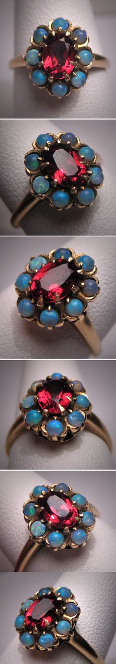 victorian garnet and opal ring.