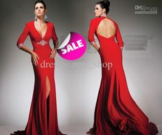 Wholesale Evening Dresses - Buy Sexy Front Slit Red Evening Dresses Open  Back Jersey Custom Made e2ee91357811