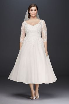 Short Tulle Plus Size Tea-Length Wedding Dress