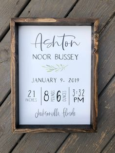 Birth Stats Wooden Sign This piece looks beautiful displayed on a wall or simply placed on a shelf. Birth stats signs are the perfect gift for new mamas! Birth Announcement Sign, Birth Announcements, Rustic Wedding Signs, Baptism Gifts, Baby Baptism, Birth Gift, Diy Signs, Wooden Signs, Painted Signs